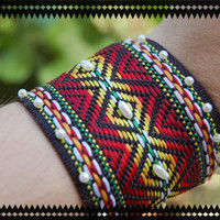 Beaded Tribal Cuff Bracelet by BeYouTiFuLbyLindZ on Etsy