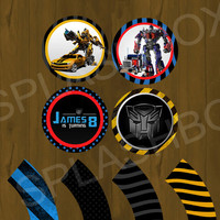 Transformers Optimus and Bublebee Printable Cupcake Toppers and Wrappers - Party Circles