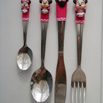 Personalised Minnie Cutlery Set (Spoon, Fork, Knife, Tea-spoon) Flatware Set
