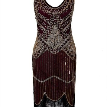1920s Sequin Fringed Gatsby Dresses