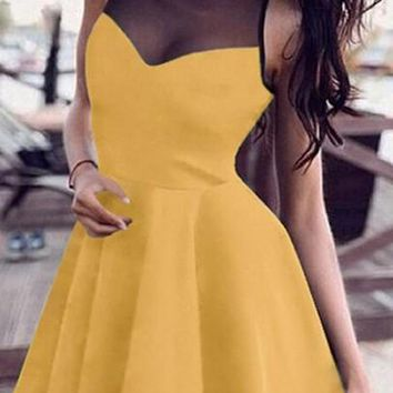 New Women Yellow Patchwork Draped Round Neck Sweet Mini Dress