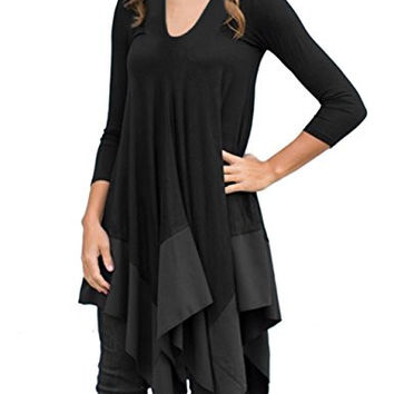 AMZ PLUS Women Irregular Hem Long Sleeve Loose Shirt Dress Top Black 4XL