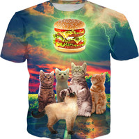 Kittens Admiring A Delicious Burger - Men, Women And Kids T-Shirts
