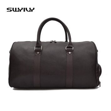 SWYIVY Men's Large Capacity PU Leather Sports Bag Gym Bag Fitness Sport Bags Duffel Tote Travel Shoulder Handbag Male Bag