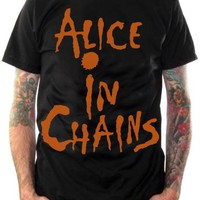 Alice In Chains T-Shirt - Classic Logo Grunge Orange