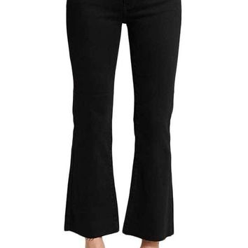 Just Black Crop Kick Flare Jeans