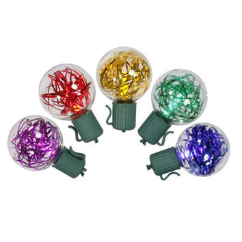 Multi-color G40 Tinsel Christmas Lights - 25 Bulbs On Green Wire