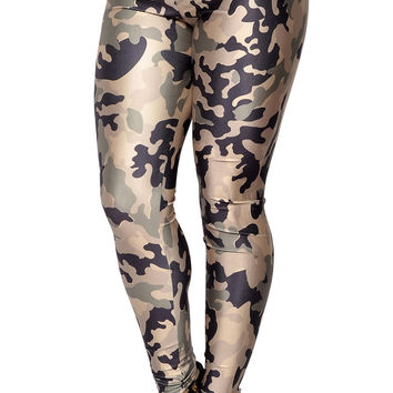 BadAssLeggings Women's Army Camo Leggings Medium Green