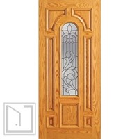 Single Door Mahogany Center Arch Lite 7 panel