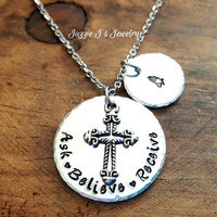 Ask Believe Receive Religious Necklace, Praying Hands Necklace, Cross Necklace, Quote Necklace, Hand Stamped Believe Necklace, Inspirational