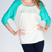 Rvca Big Rvca Stamp Womens Baseball Tee Seafoam  In Sizes
