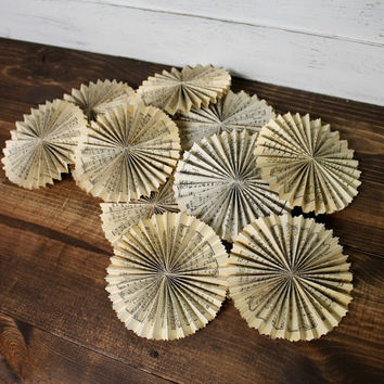 Shabby Chic Paper Rosettes - Paper Flowers - Vintage Rosettes - Vintage Christmas - Shabby - Vintage Paper Flowers - Vintage Sheet Music