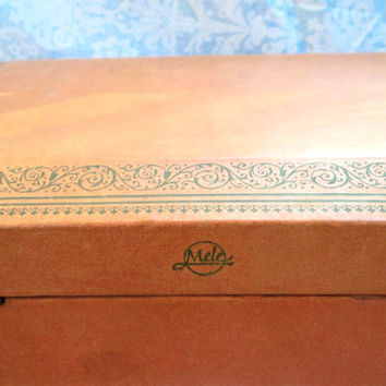 Vintage Mele Jewelry box with Peach/Coral Lining