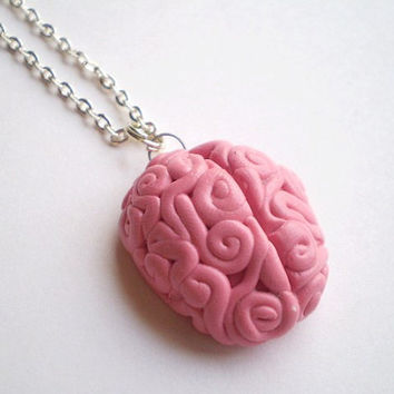 Pink Brain Pendant Necklace