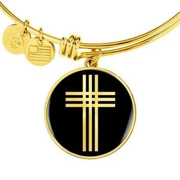 Stylized Cross v2 - 18k Gold Finished Bangle Bracelet