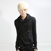 Autumn Spring Metal rock gothic t shirt men Black Slim Long sleeve Stylish tee