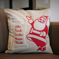 Santa's Nice List - Christmas pillow cover - Personalized