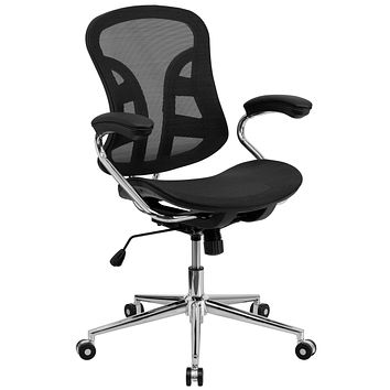 Mid-Back Mesh Swivel Task Chair with Chrome Base and Padded Arms
