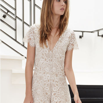 Alexis Alain Lace V-Neck Romper in Fawn