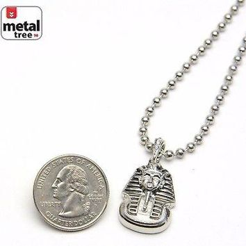 """Jewelry Kay style Men's Iced Out Egyptian Pharaoh Pendant 3 mm 20"""" Ball Chain Necklace MMP 810 S"""