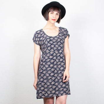 Vintage 1990s Dress Soft Grunge Dress Mini Dress 90s Dress Dark Navy Blue Liberty Floral Print Dress Ditsy Babydoll Dress M Medium L Large