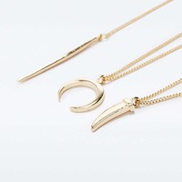 Long 3 Row Charm Necklace - Urban Outfitters