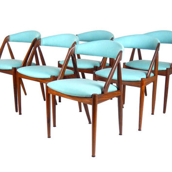 Danish Modern Kai Kristiansen Chairs Model 31 Chairs Teak Dining Chairs Blue Teal Turquoise Upholstery Mid Century Modern Furniture