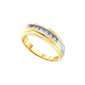14k Yellow Gold Mens Round Channel-Set Diamond Wedding Anniversary Band Ring 1/4 Cttw