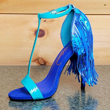 Strada Teal Blue T Strap Sandal Fringe Back High Heel Shoe Size 6 & 7