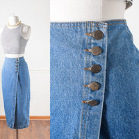 Vintage Denim Wrap Skirt / High Waisted Blue Jean Skirt / Denim Maxi Skirt / 80s Skirt / 90s Skirt / Wrap Around Skirt / Denim Pencil Skirt