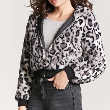 Hooded Faux Fur Bomber Jacket