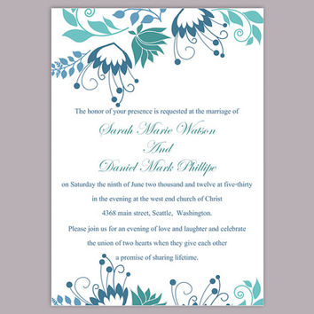 DIY Wedding Invitation Template Editable Word File Instant Download Elegant Printable Invitation Blue Wedding Invitation Flower invitation