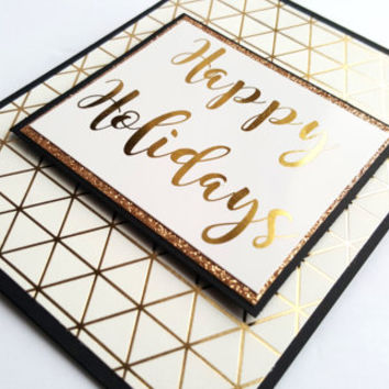 "Real Gold Foil ""Happy Holidays"" Card, handmade gold foil, Christmas card, cursive typography, script font, gifts for christmas, gold glitter"