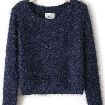 Navy Blue Plain Fur Long Sleeve Round Neck Fashion Pullover