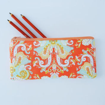 MINT AND CORAL, mint pencil pouch, coral makeup bag, mint and coral clutch, peach sunglass case, mint and coral bridesmaids gifts