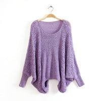 Loose bat sleeve round neck knit sweater  1801597