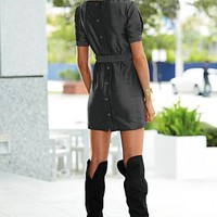 Herringbone button dress, over the knee boot in the VENUS Line of Dresses for Women