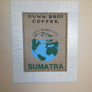 Framed Dunn Bros Sumatra Burlap Coffee Bag Art
