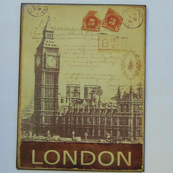 LONDON Big Ben Clock Tower Metal Tin Home Decor Sign