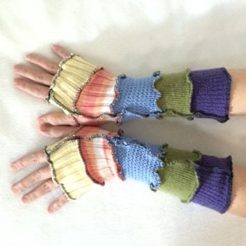 Upcycled Fingerless Gloves Rainbow Armwarmers Recycled Wrist warmers Stripe Gloves Knit Gloves Fingerless Mittens Colorful Arm Warmers