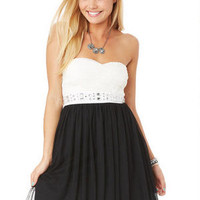 Jewel Waist Party Dress - Black