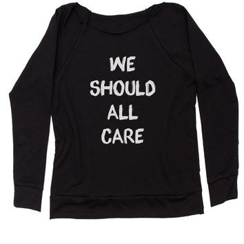 We Should All Care Slouchy Off Shoulder Oversized Sweatshirt