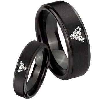 His Hers Step Edge Phoenix Black Tungsten Carbide Wedding Rings Set