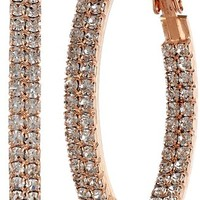 Crystal Set 40mm Plated Twin Row Inside Out Earrings