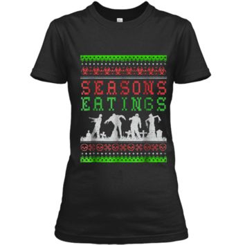 Funny SEASONS EATINGS Zombie Ugly Christmas Sweater  Ladies Custom