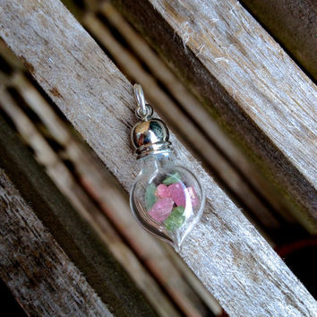 Watermelon tourmaline in tiny glass bottle pendant