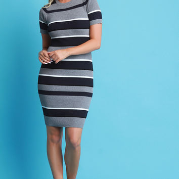 Striped Short Sleeve Sweater Dress | UrbanOG