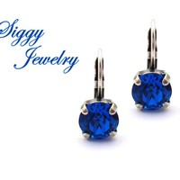 Swarovski® Crystal Earrings, 8mm Capri Blue, Royal Sapphire Blue, Drops Or Studs, Assorted Finishes, Bridesmaids Gifts, Gift Packaged