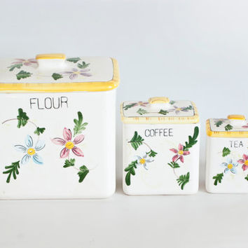 1950's Hand Painted Kitchen Canisters, Flowers and Vines, Square Storage Containers, Flour, Coffee, Sugar Container, PY Japan (?)