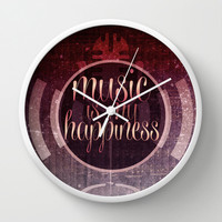 music is my happiness | music theme Wall Clock by Webgrrl